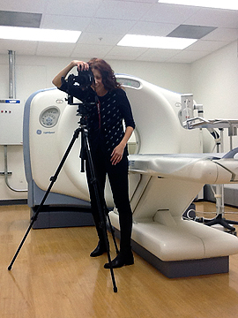 Lisa doing virtual tour shoot for Select Specialty Hospital Cleveland West.